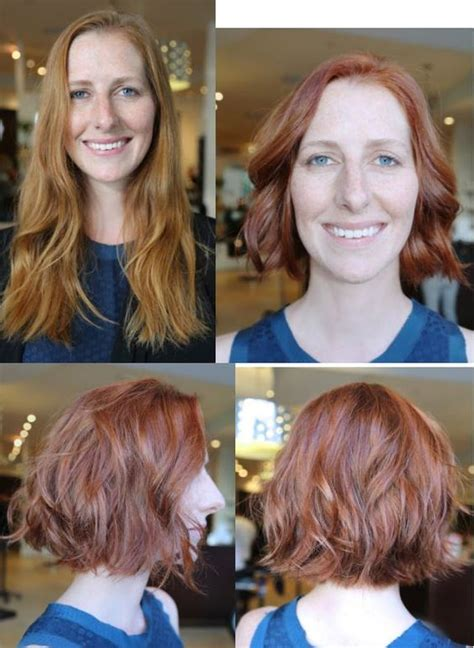 haircut before dye haircut and color before and after hair makeover red