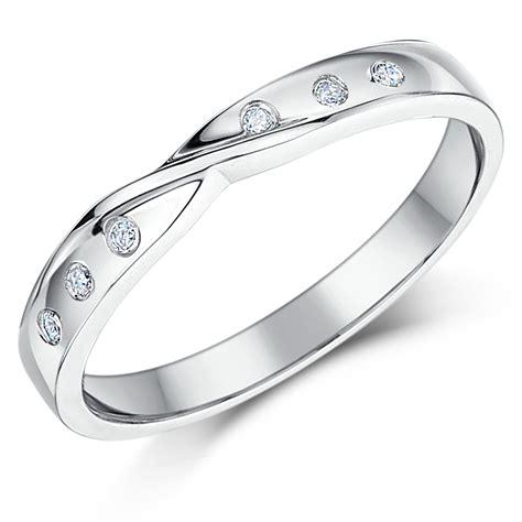 3mm 9ct white gold set twist wedding ring band