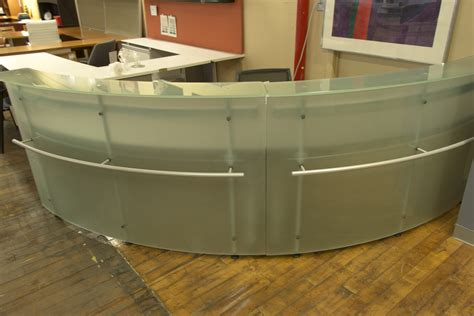 Frosted Glass Desks by Frosted Glass Arc Reception Desk Peartree Office Furniture