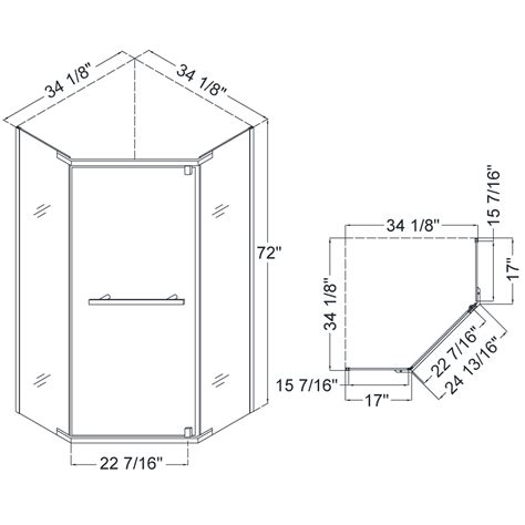 shower dimensions prism pivot shower enclosure