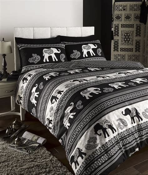 Bed Set Black Empire Indian Elephant Animal Print King Bed Duvet Quilt Cover Bedding Set Black Ebay
