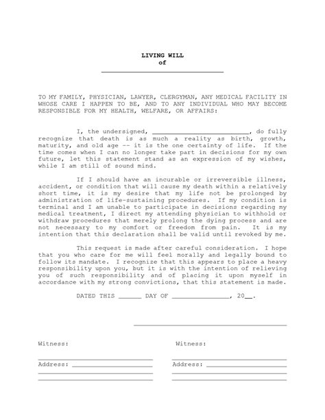 free will document template living will sle free printable documents