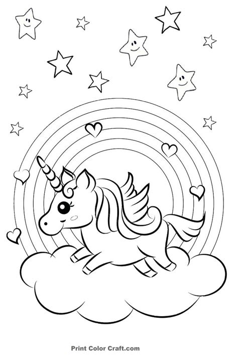 rainbow  hearts colorful unicorn coloring pages print