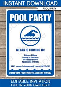 swimming invitation template pool invitations birthday template