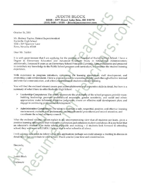 Principal Cover Letter Cover Letter Administrative Assistant Education Cover Letter Sles For Assistant Principals