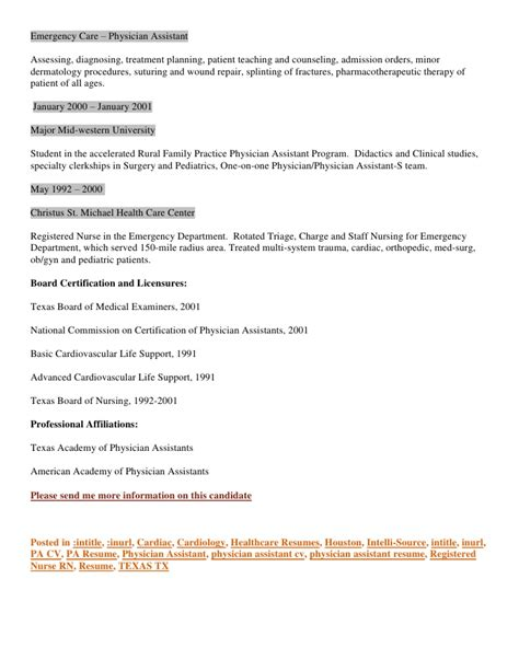 Patient Care Resume Sample by Resume Cv Houston Based Physician Assistant Cardiology And