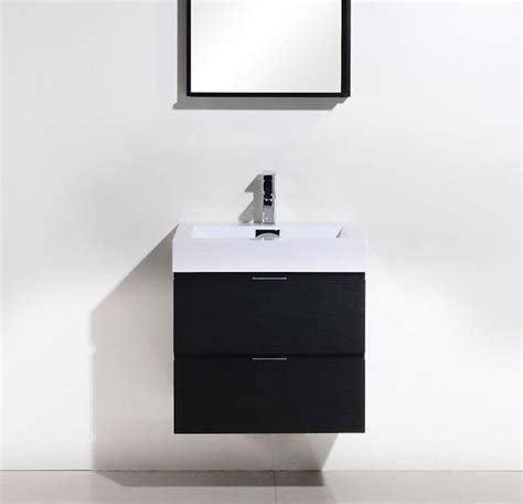 Modern Bathroom Vanities Canada Bliss 24 Quot Kubebath Black Wall Mount Modern Bathroom Vanity U2502 The Vanity Canada