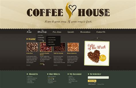 shop templates coffee shop website template 37865