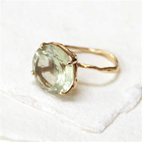 green amethyst gold ring by by emily notonthehighstreet
