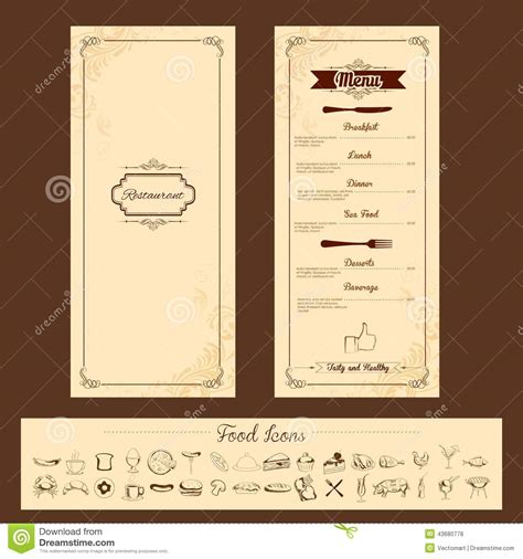 menu layout templates free template for menu card stock vector image 43680778
