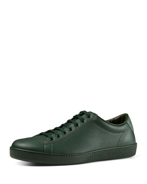s low top sneakers gucci leather low top sneakers in green for lyst