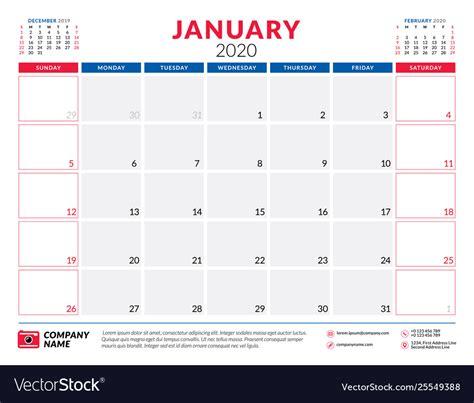 january  calendar planner stationery design vector image