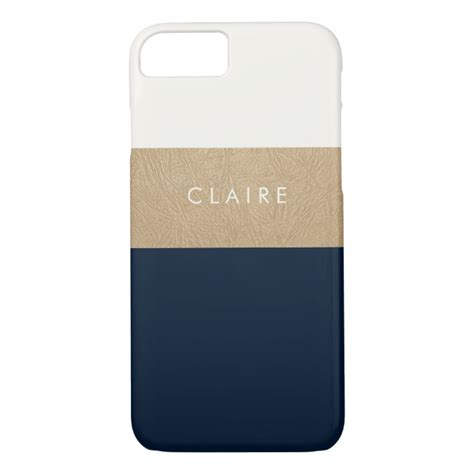 Leather Iphone 7plus Navy Blue Original gold leather and navy blue iphone 7 plus