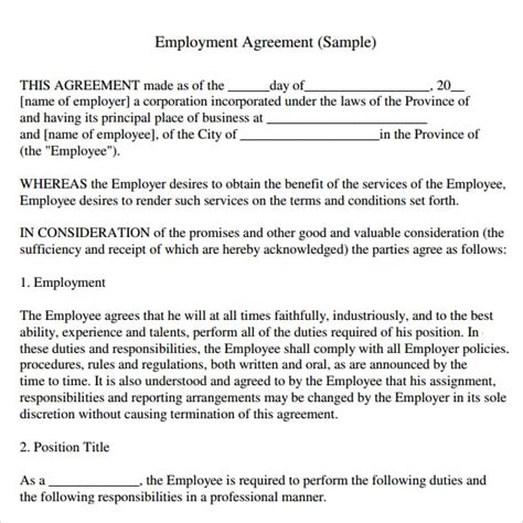 Free Employment Agreement Template by Top 5 Free Employment Agreement Templates Word Templates
