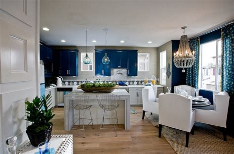 blue and white kitchen and dining space decoist
