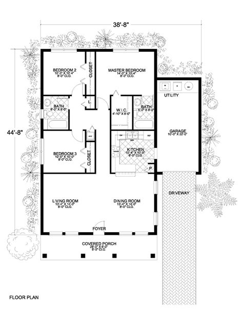 mediterranean home with 3 bdrms 1250 sq ft floor plan