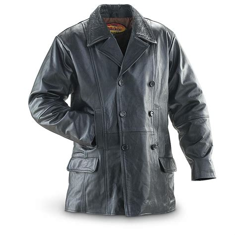 black leather pea coat mens 174 leather pea coat black 167184 insulated jackets coats at sportsman s guide