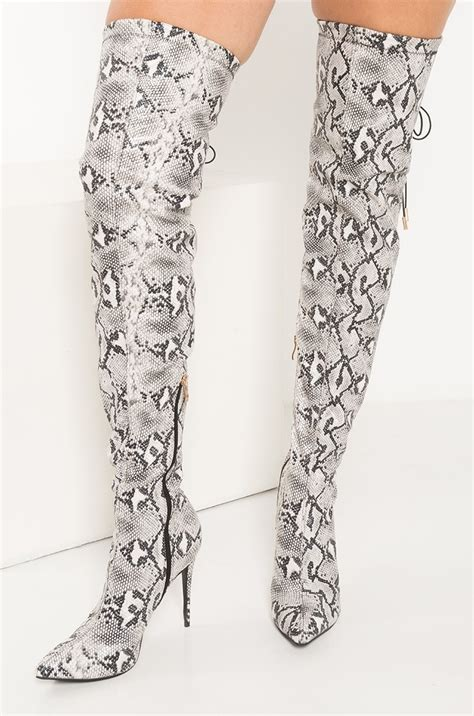 akira faux snakeskin thigh high stiletto boots  black white snake black snake