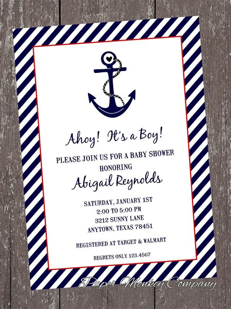 printable nautical invitation template free nautical baby shower invitation templates