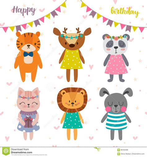 happy birthday animal stak design happy birthday holiday card with cute animals cartoon