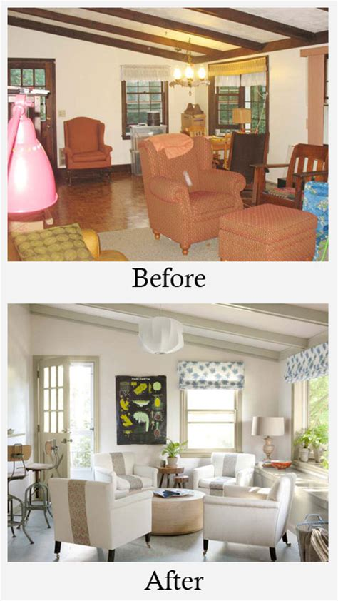 before painting a room living room makeovers before and after stained beams and dull colors made this room seem