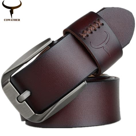 cowather vintage style pin buckle cow genuine leather