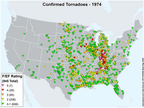 map of tornadoes today us tornadoes map1974 u s tornadoes