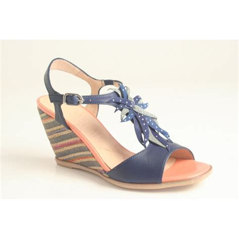 Sandal Wedges Blue Flower hispanitas hispanitas style quot clavel quot blue leather sandal with multi coloured wedge and