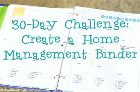 30 day challenge create a home management binder free