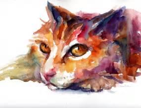 water color cat watercolor orange tubby cat painting by svetlana novikova