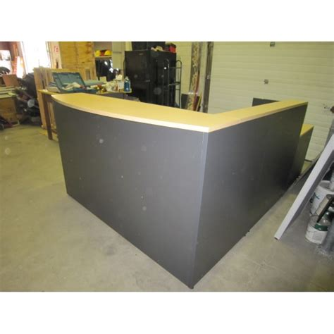 Reception Desk With Transaction Counter Global Grey L Shape Reception Desk W Transaction Counter Allsold Ca Buy Sell Used