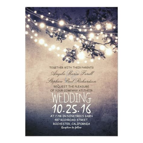 garden lights wedding invitations uk rustic tree branches string lights wedding card zazzle