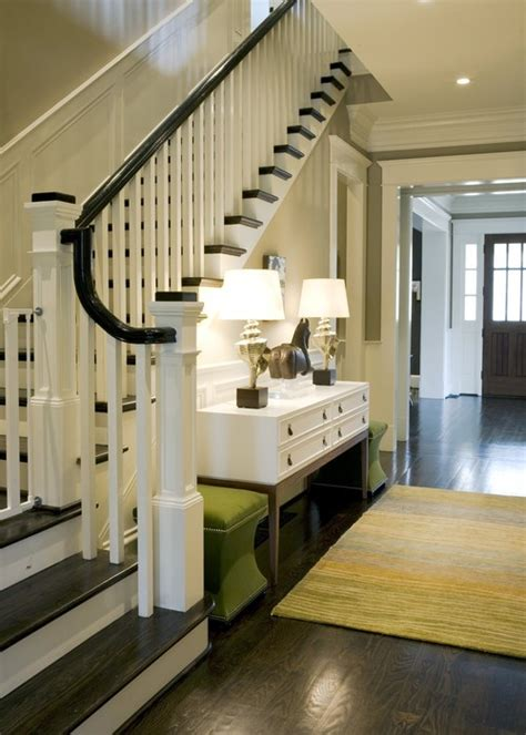 entryway stairs black banisters interior design ideas bright bold and