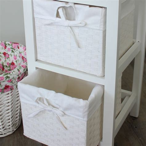 White Wicker Drawer Storage by White Cabinet With 2 Baskets Melody Maison 174