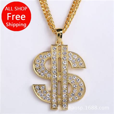Kalung New Fashion Jewelry Gold Chain Necklace Pendant B 1 set auger dollar sign pendant high quality fashion hiphop