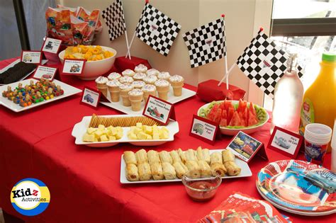 cars birthday party buffet spread kidz activities