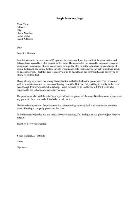 Character Letter To Judge From Best Photos Of Formal Letter To Judge Template