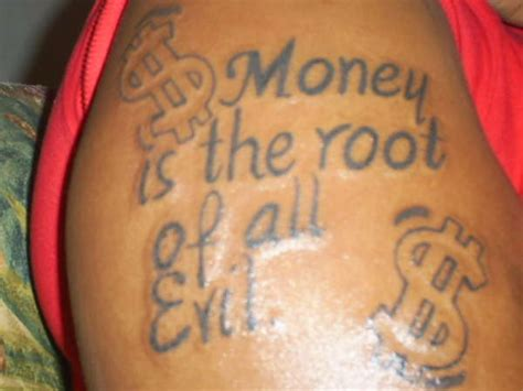 root of all evil tattoo money is the root of all evil