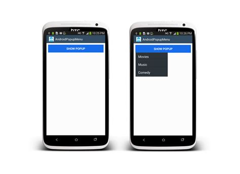 android popup android popup menu exle stacktips