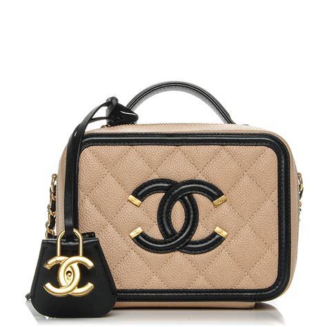 Chanel Cc Filigree Vanity Bag 1145 Tas Fashion Wanita Impor chanel caviar quilted small cc filigree vanity beige black 193265