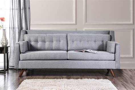 mid century modern grey sofa hallie gray linen fabric mid century modern style button