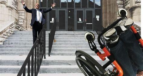 donald trump experiences singularity  god  pushing paraplegic child  flight  stairs