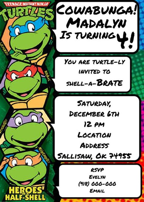 mutant turtles card template 25 best ideas about turtle invitations on