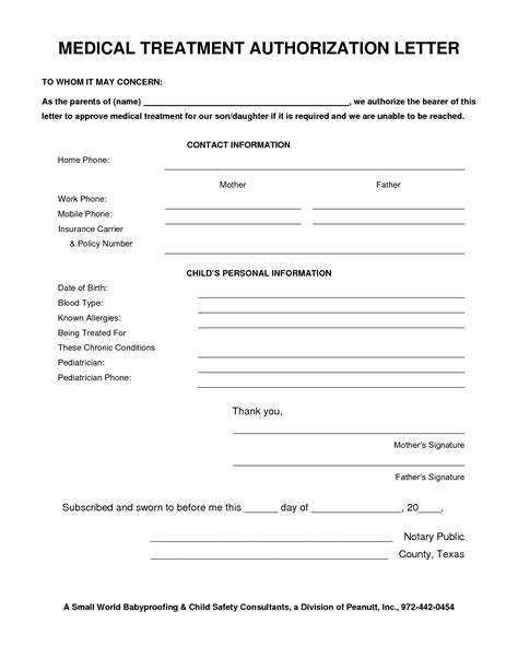 treatment authorization letter for a minor best photos of consent letter sle