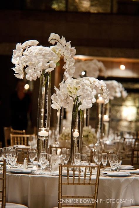 Tall White Orchid Floral Centerpieces Winter Wonderland White Orchid Centerpieces