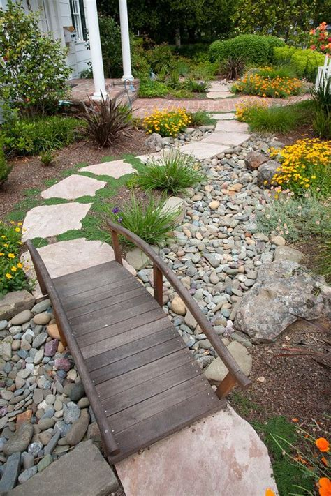 yard bridge beautiful water saving dry creek bed in the front yard i