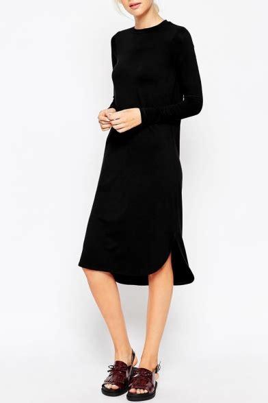 Sleeve Plain T Shirt Dress plain sleeve curved hem midi t shirt dress