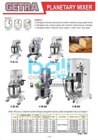 Mixer Getra bakery noodle equipment bali coolers gea getra rsa