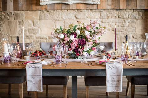 luxury barn wedding  bespoke printed fabric menus