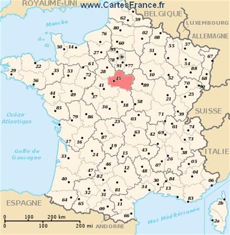 loiret : map, cities and data of the departement of loiret 45